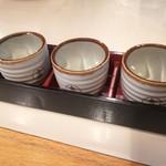 四季庵 - 獺祭、久保田、八海山3種飲み比べ(700円外税)