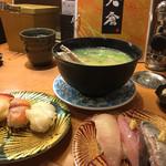 かいてん寿し 大倉 - 三種にあら汁。イワシ特に美味しかった。。。個別で190