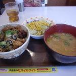 すき家 - 焼鳥丼380円+豚汁サラダセット160円