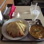 74063393 - お気軽セット(+チーズナンへの変更、チキンカレー) ¥1,000-
