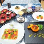 杉幸園 - 料理写真:10月の3500円コース料理です。写真のお料理に特別デザートセットが付き、大変お得です