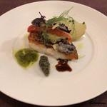 ビストロ スケガワ - 真鯛のポワレと黒バジル、パプリカ、ズッキーニのフリット