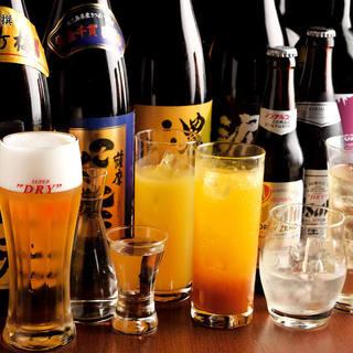豊富な種類のドリンクをご用意!こだわりの日本酒や焼酎も。