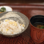 日本料理 晴山 - 2017.10 栗と白身そぼろご飯、赤出汁、香の物