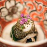 日本料理 晴山 - 2017.10 帆立貝 舞茸 ほうれん草 半熟鶉卵 とんぶり