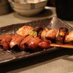 こっこ屋 - 肝と鶏ねぎま(タレ・よく焼き)