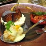 china bistro 八寸 - エビマヨネーズ、銀ムツの照り焼き、トマトのコンフィ・