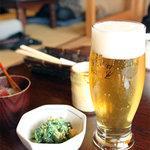 手打ちそば たねや - 生ビール。<2011_04>