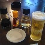 74159452 - ランチビールと餃子につける物達