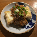 ソラマメ食堂 - 豆腐の竜田揚げ 薬膳きのこ肉味噌がけ