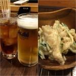 呑み喰い処ぽんた - 料理写真:生ビール500円&ウーロン茶230円/お通し