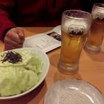 三代目 鳥メロ - お通し&生ビール@¥199-