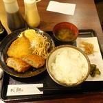 恵比寿和顔 - ミックスフライ定食850円、アジフライとメンチカツ