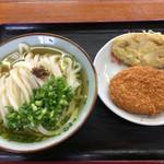 大谷製麺所 - 料理写真:かけうどん(そのまま大)&コロッケ、レンコン天