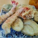 花もめん - えび天ぷら定食(ご飯、味噌汁つき)