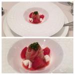 74229856 - モッツァレラとフルーツトマトの冷製カッペリーニ                       アミューズ(+500円)                       キリリと冷やされてスタートにぴったりな一皿。