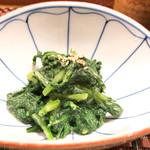 岡正 - 料理写真:おとおす。春菊の胡麻ヨゴシ。立って食うそばの春菊天とは大違い