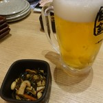 目利きの銀次 - 生ビール538円 お通し430円