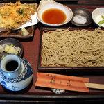 朝日屋 - 小海老と季節の野菜のかき揚げ付せいろ(お昼の小膳/1200円)