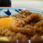 丸亀製麺 - 牛すき釜玉のアップ