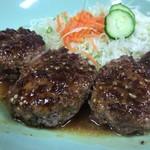 なりこま家 - 肉増しハンバーグ定食 アップ