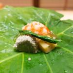 74274578 - 酢の物 蛸の真子、車海老、加賀太胡瓜、栗の土佐酢ジュレ