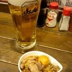 元祖美唄焼鳥 三船 - 生ビールで乾杯です