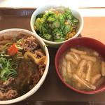 すき家  - カレー南蛮牛丼、オクラサラダセット