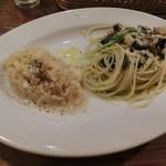 オステリア アプント - 鶏もも肉とほうれん草のスパゲティ&リゾット900