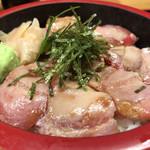 市場食堂 - 炙りハラモ漬け丼 アップ