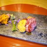 74289215 - 神戸牛ミスジ&日本海赤雲丹と近江牛サガリ昆布締め&はだて雲丹の食べ比べ