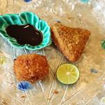 柚木元 - 揚げ物」・・・・・松茸のクリームコロッケは酢橘だけで、松茸の傘のフライは酢橘と特性ソースで