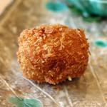 柚木元 - 揚げ物 松茸のクリームコロッケは酢橘だけで