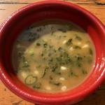 麺匠 たか松 - スープ割にあおさを入れたもの (大つけ麺博 大感謝祭)
