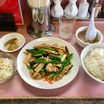 ラーメン専科とらの子 - 「ニンニクの芽と豚肉の辛子炒め定食」(780円)