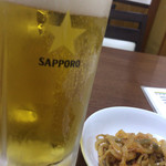 中華大千居 - 生ビール(中)とお通し