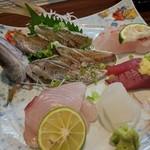 旬魚菜 しら川 - 刺し身盛り合わせ(クロムツ小、オキザワラ、イラ、宗田カツオ、ダルマイカ)