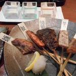 74325915 - わんつか焼き魚5串盛りときき酒セット