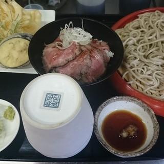 そば善 - 料理写真:ランチ もりそば650+野菜天200+ミニビーフ丼600