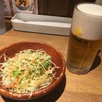 モンスターグリル - チビモンスターサラダ(150円)と生ビール(380円)