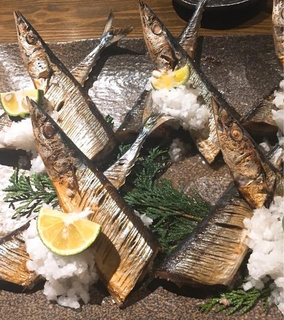 和彩dining 花 - 秋刀魚の丸干し (すだち 鬼おろしで)