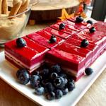74356321 - カシスムースのケーキ@綺麗な色味。すっきりした酸味のリフレッシュメント
