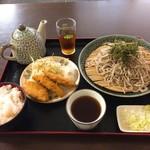 そばや - 日替定食(もりそば+白身魚フライ)