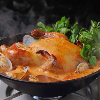 冬の名物!じっくりローストした丸鶏のフリフリ鍋