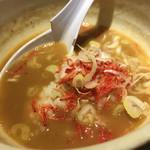 麺屋 ふじ田 - スープ割の3:桜エビ、ネギ、ご飯