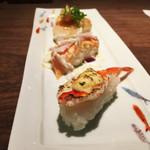 74382506 - 海鮮炙り寿司3貫。創作和風居酒屋然。