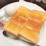 74414656 - 厚焼きトーストとゆで卵