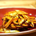 一碗水 - 料理写真:活上海蟹、マコモダケ(千葉)、中国餅の上海式炒め煮