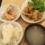 めっちゃ らんまん食堂 - 鶏もも唐揚げ定食(ハニーマスタード)+唐揚げ追加(明太マヨネーズ)