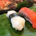 石松寿司 - 2017年10月 烏賊とサーモン